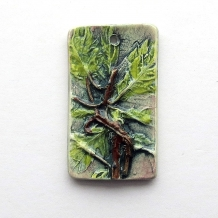 Pendant Oak Leaves Ceramic Clay