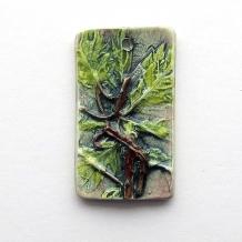 Pendant Oak Leaves Ceramic Clay