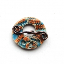 Toggle Clasp  Fern Fronds Blue and Orange